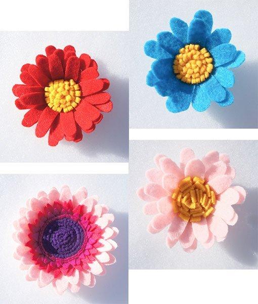 mixed single felt flowers